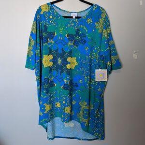 LuLaRoe Irma Top Blue/Yellow, Sz XL